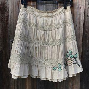 Free People Tiny Beaded Flower Pleated Skirt.